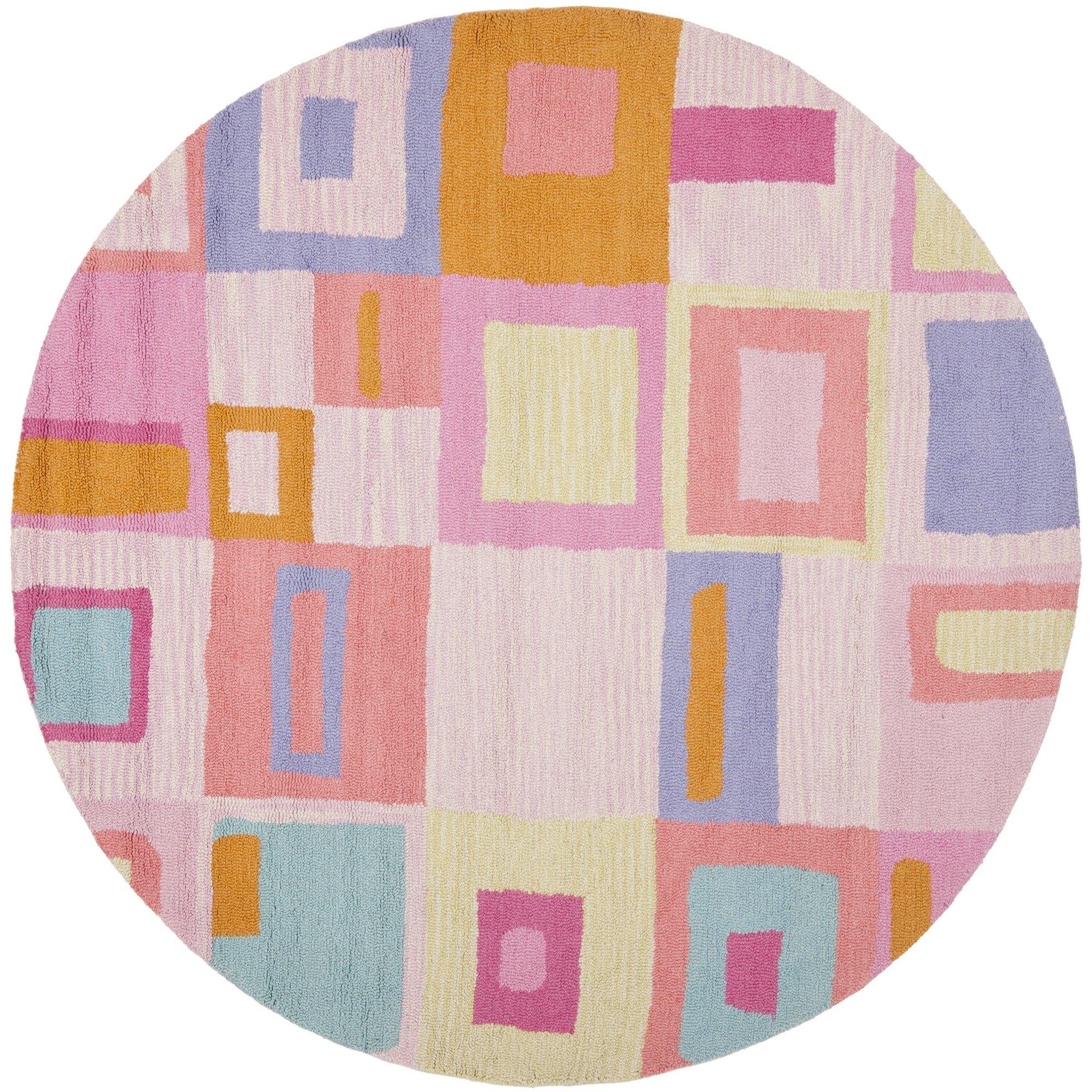 Safavieh Safavieh Kids Collection SFK317A Handmade Pink and Multi Cotton Round Area Rug (6' Diameter)