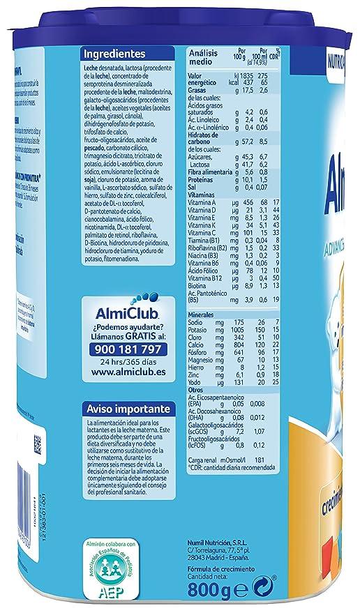 Almirón Advance con Pronutra 3 Leche de crecimiento en polvo desde los 12 meses - 800 g: Amazon.es: Amazon Pantry