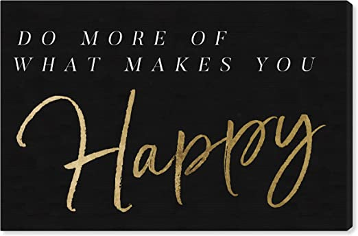 Amazon Com The Oliver Gal Artist Co Typography And Quotes Wall Art Canvas Prints What Makes You Happy Gray Home Décor 60 X 40 Gold Black Posters Prints