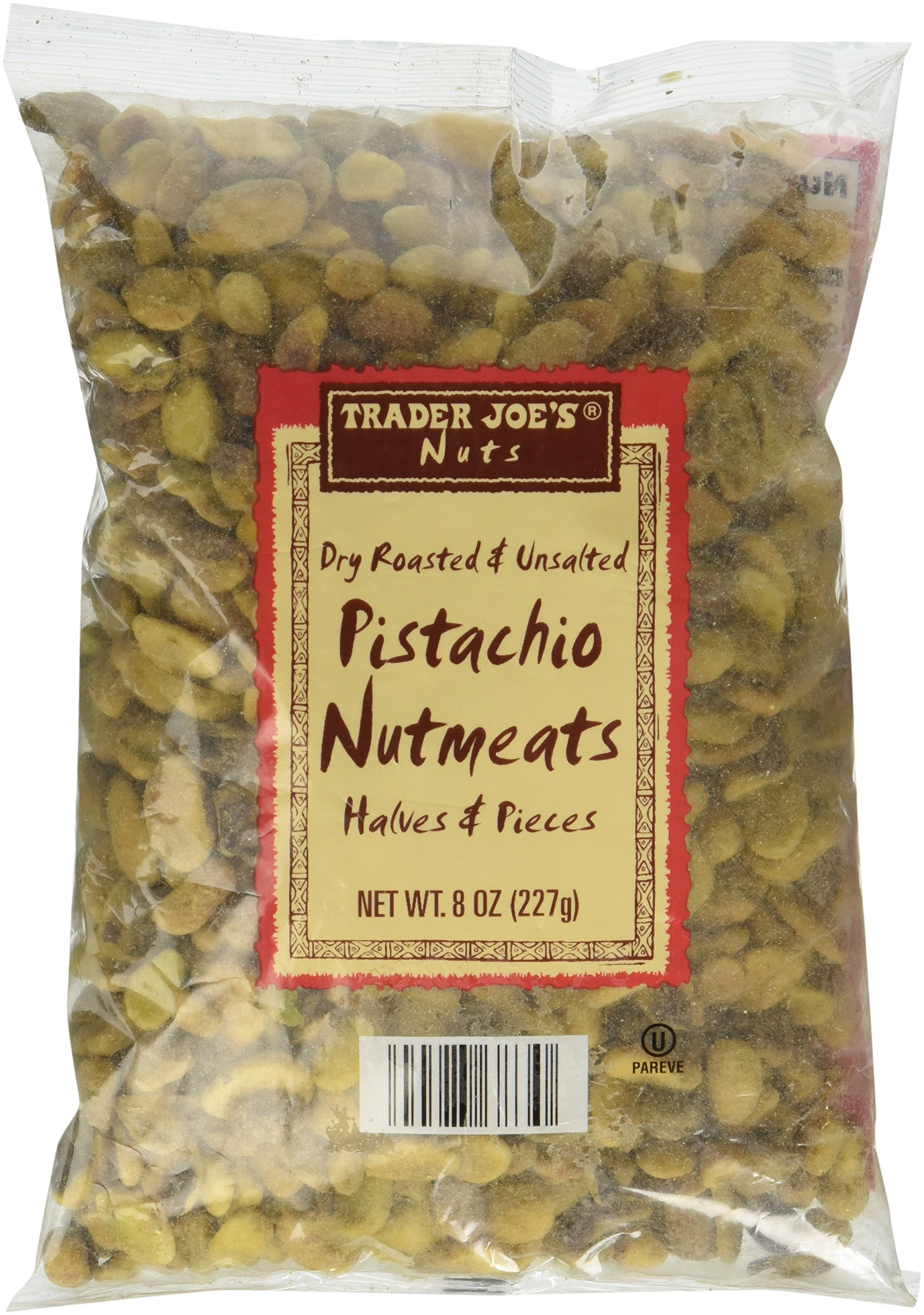 Trader Joe's Dry Roasted and Unsalted Pistachio Nutmeats Halves and Pieces, 8 oz by Trader Joe's