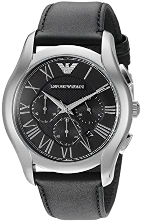 Emporio Armani Mens AR1700 Dress Black Leather Watch