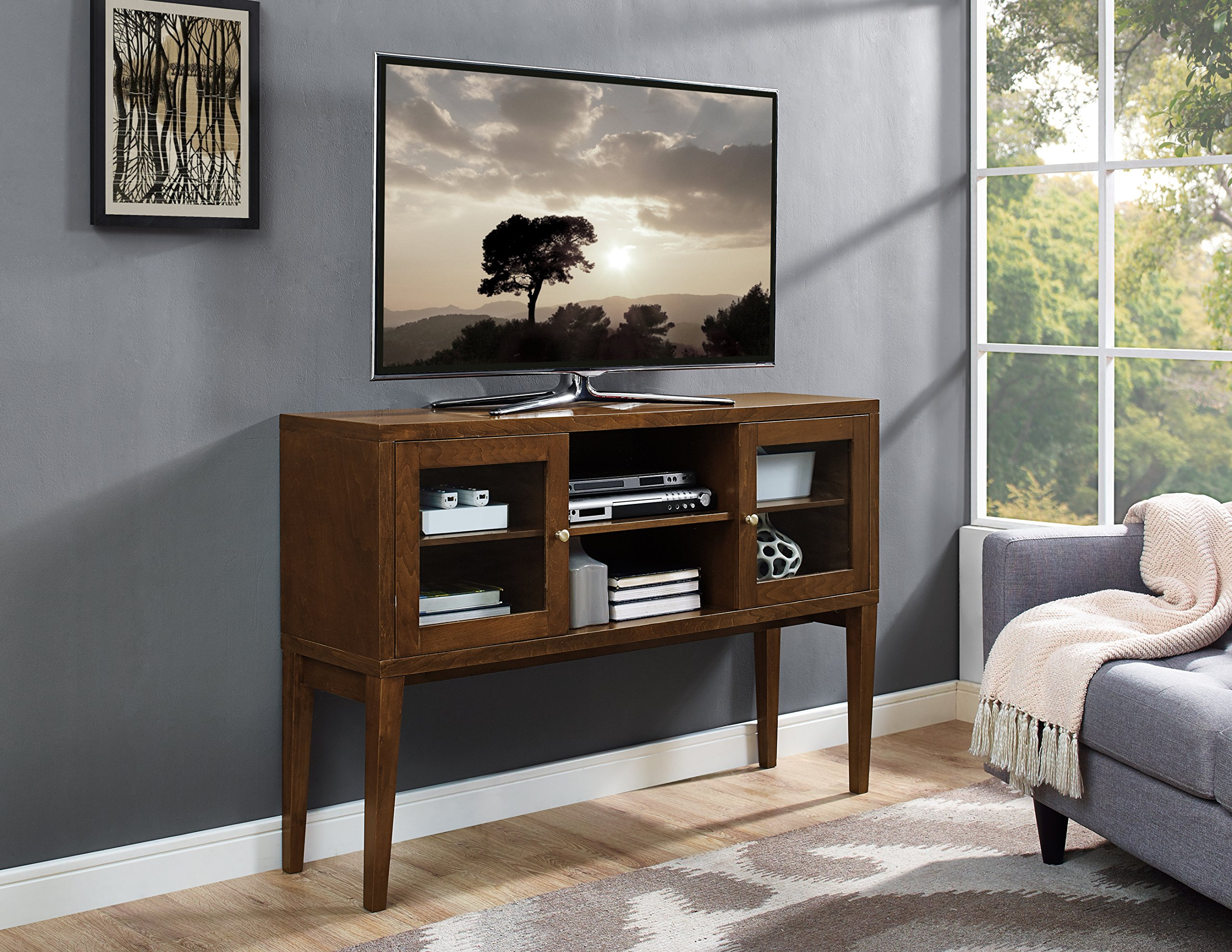 WE Furniture 52'' Wood Buffet with Tapered Legs - Walnut