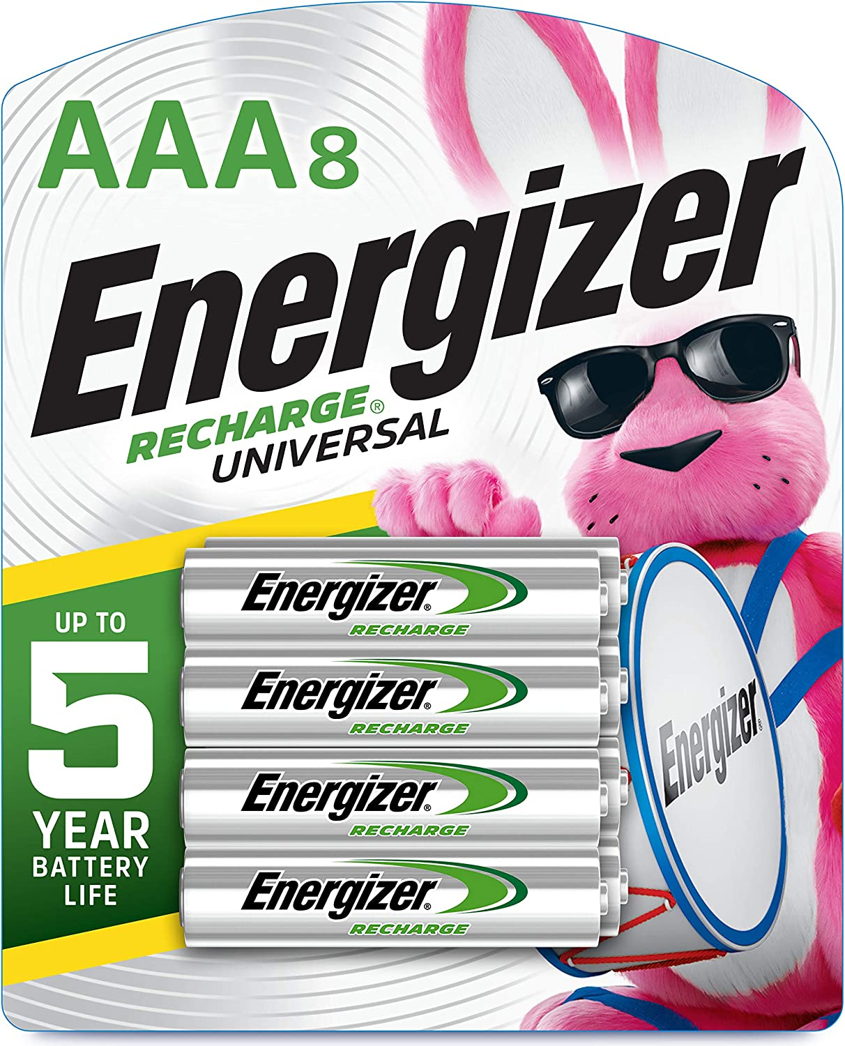 Energizer Rechargeable AAA Batteries, 700 mAh NiMH, Pre-charged, Chargeable for 1,000 Cycles, 8 Count (Recharge Universal)