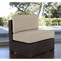 Serta Outdoor Collection Armless Chair with Cushions, Beige/Dark Brown