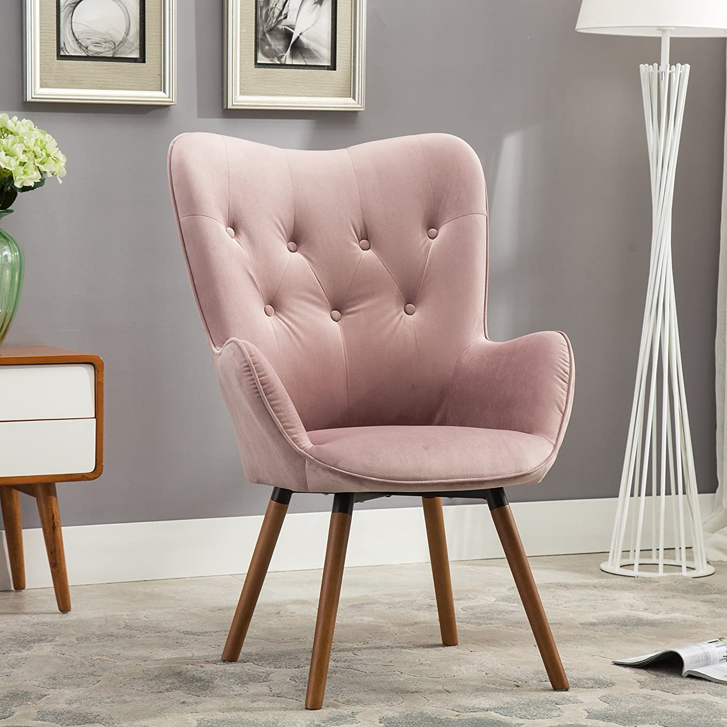 Amazon com roundhill furniture doarnin contemporary silky velvet tufted button back accent chair mauve kitchen dining