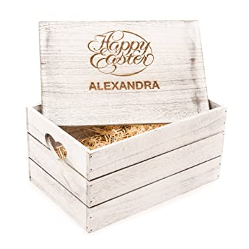 Easter personalised engraved antique wooden gift box crate happy easter personalised engraved antique wooden gift box crate happy easter gift love negle Images
