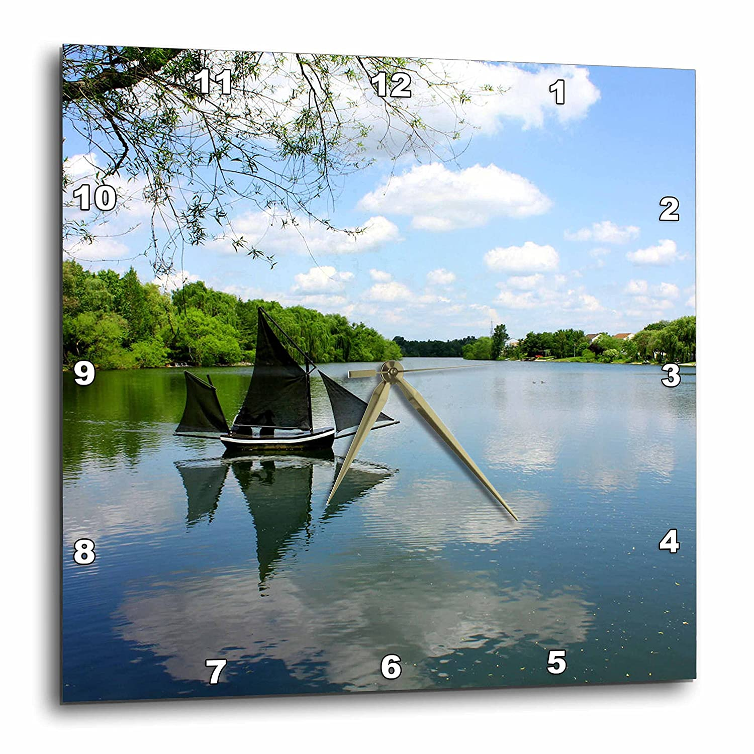 dpp/_38348/_1 Nature Spring and sunny days spent on the water 10x10 Wall Clock 3dRose Lenas Photos