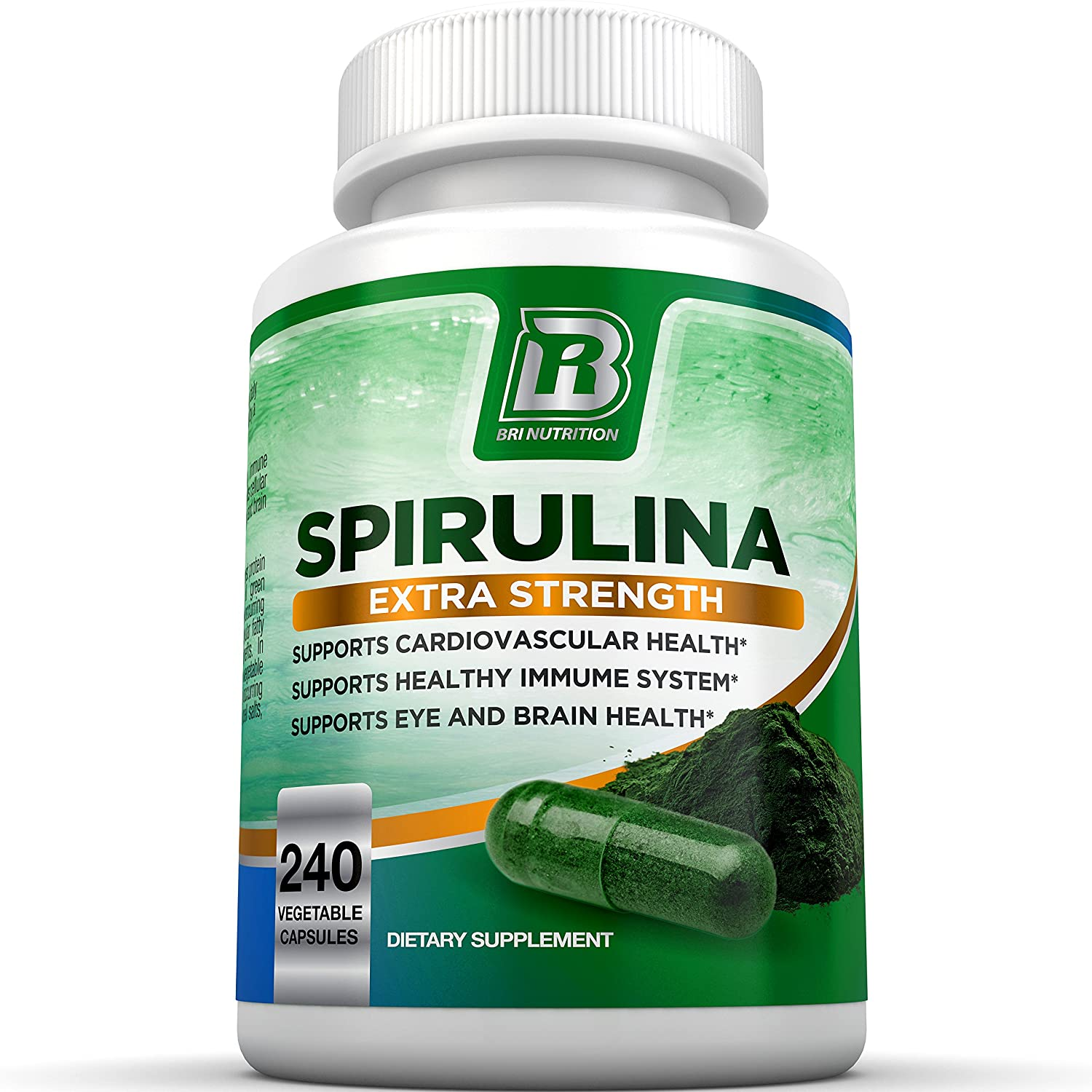 BRI Spirulina 2000mg Maximum Strength Premium Quality Spirulina Superfood Powder, Packed w Antioxidants, Protein and Vitamins in Easy to Swallow Vegetable Cellulose Capsules (240 Count)