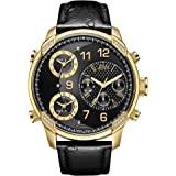 JBW Men's Limited Edition G4 19 Diamonds Three Time Zone Ostrich Embossed Leather Watch