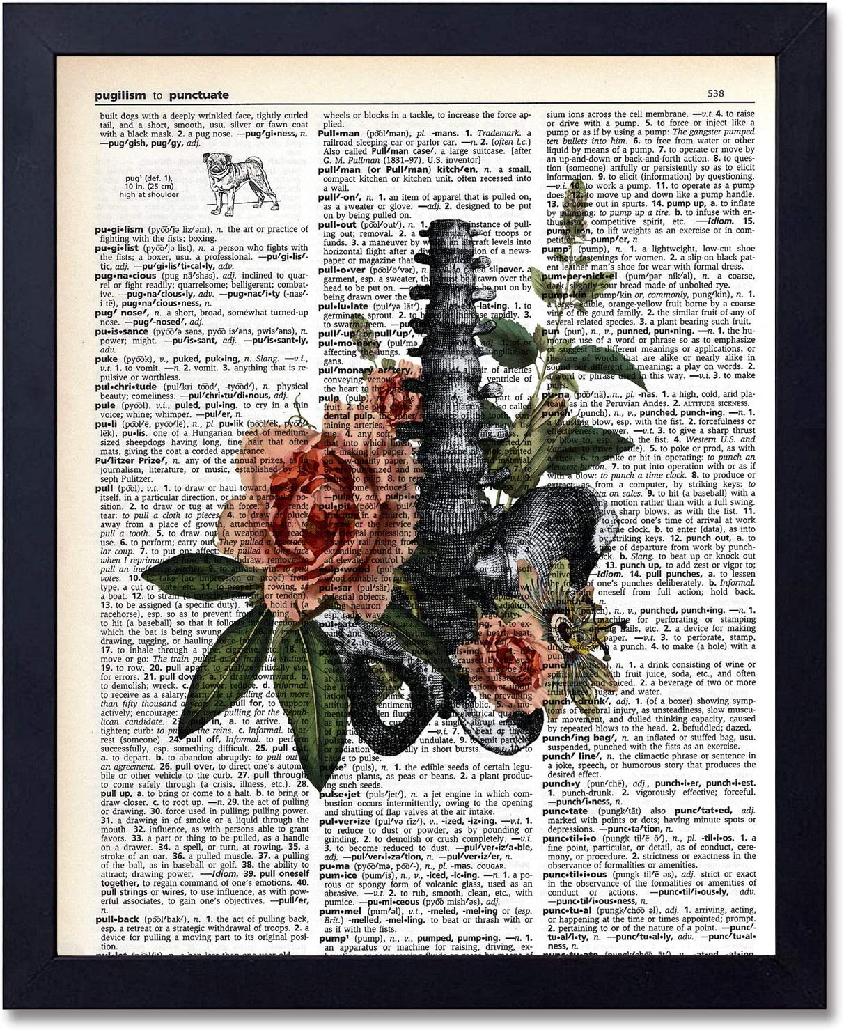 Organs & Flower Anatomy Dictionary Art Prints - Steampunk Medical Wall Art Goth Room Decor Gift for Office, Doctor's Office, Gift, Physician, Nurse, Unframed 8x10 inches