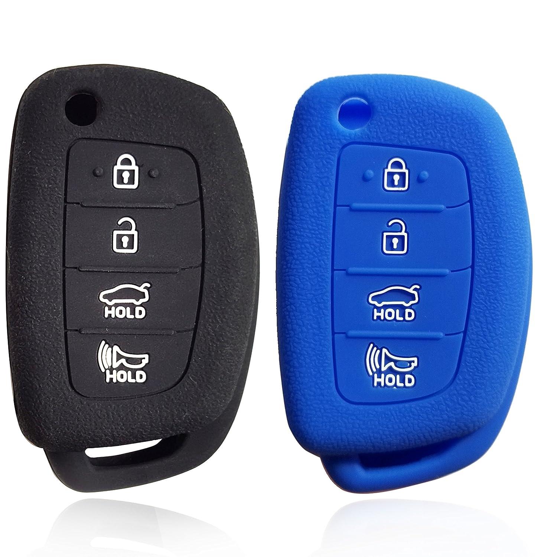 Massimiliano Incasドブレフ4ボタンシリコンケースキーFobプロテクターカバースマート車リモートホルダーfor Hyundai Santa Fe XL XL ix35 ix45リモートフリップキー ブルー 337 B07B93PPJ3  ブラックとブルー
