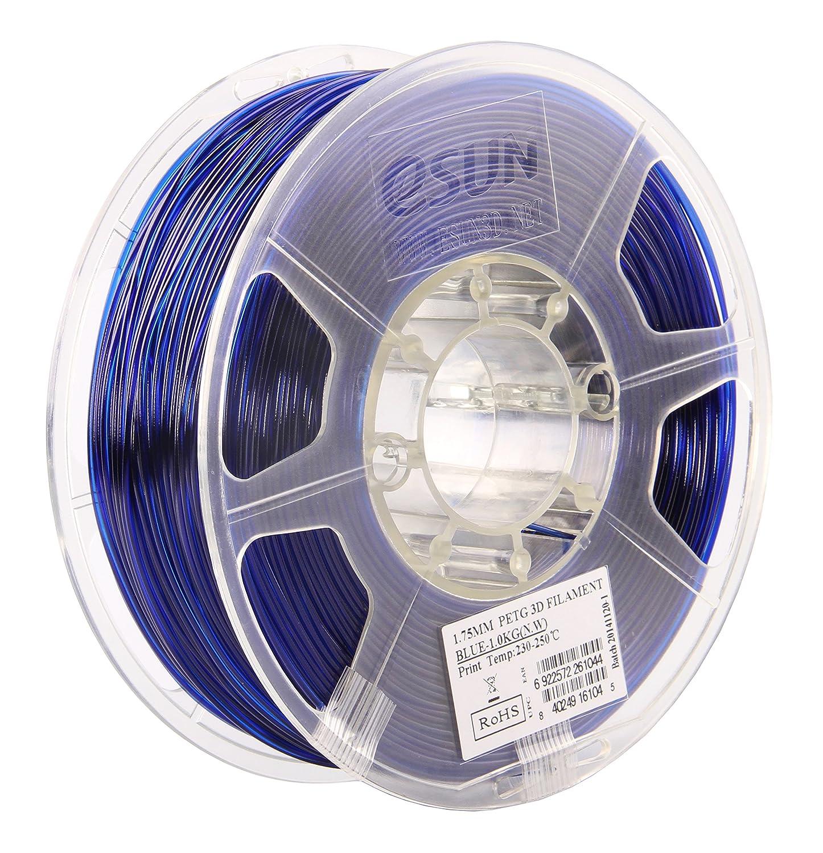 eSUN 3D 1.75mm PETG Blue Filament 1kg (2.2lb), PETG 3D Printer Filament, 1.75mm Semi-Transparent Blue