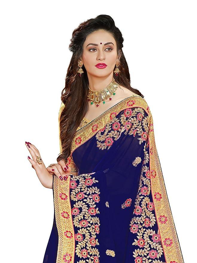 d98e3252dcc1e5 Manohari Embroidery Blue Georgette Saree: Amazon.in: Clothing & Accessories