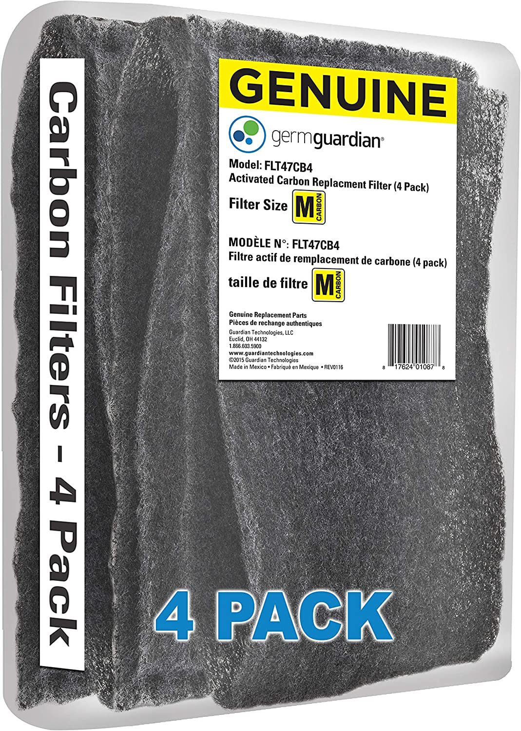 Guardian Technologies GermGuardian FLT47CB4 Carbon Filter Replacements for Germ Guadian AC4700BDLX Air Purifier, 4-Pack, 4 Pack