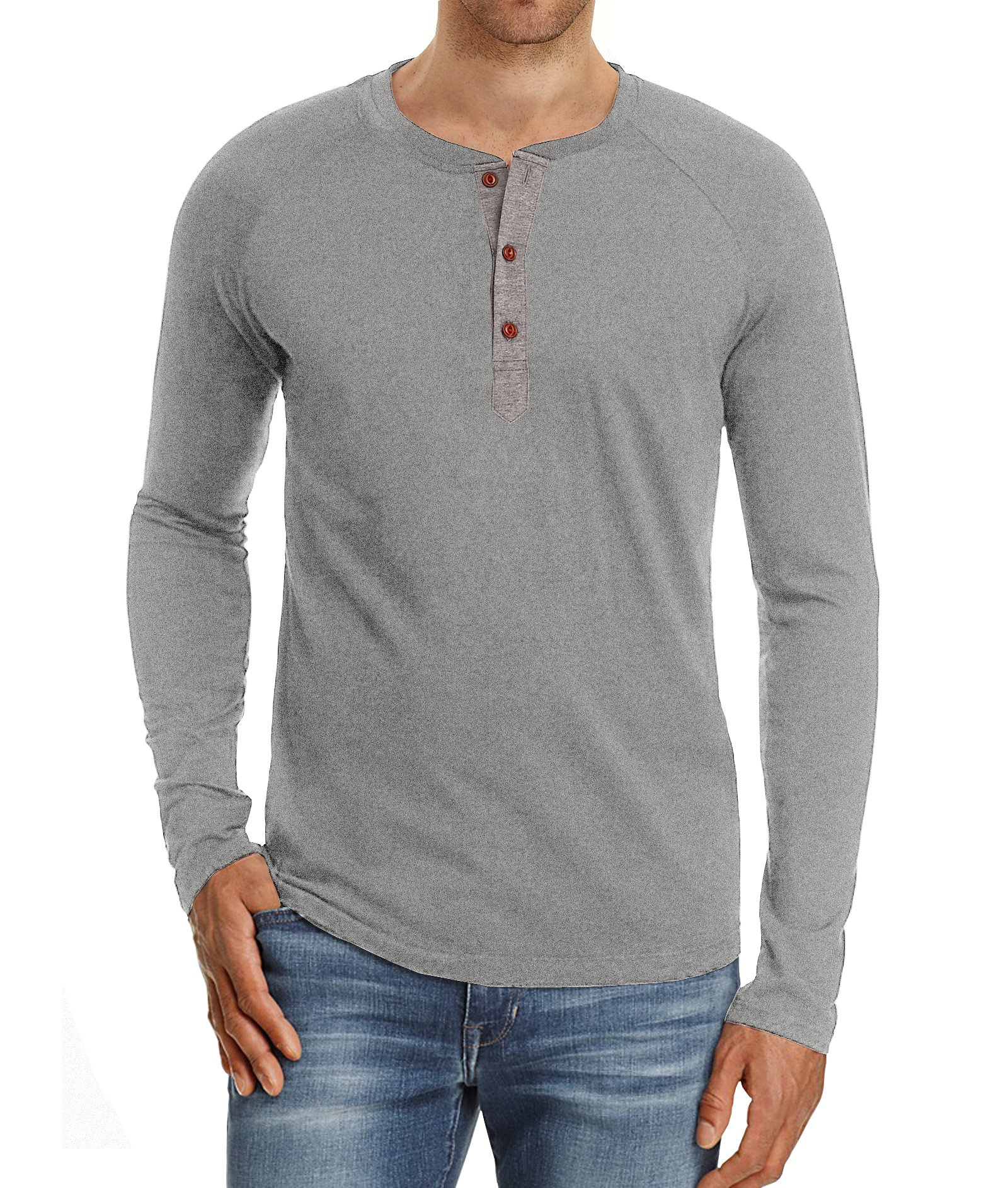 32b83414 Mr.Zhang Men's Casual Slim Fit Long Sleeve Henley T-Shirts Cotton Shirts  Light