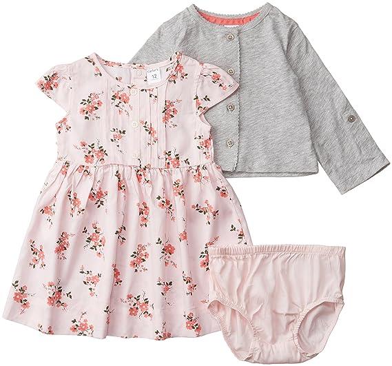 ecd5fd1a3b Amazon.com  Carter s Baby-Girl 2-Piece Sateen Dress   Cardigan Set ...