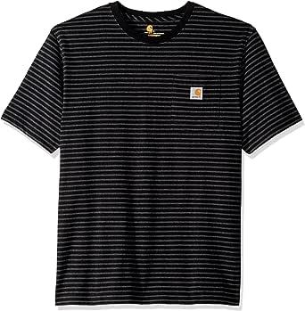 Carhartt Men's K87 Workwear Short Sleeve T-Shirt (Regular and Big & Tall Sizes), black stripe, Small