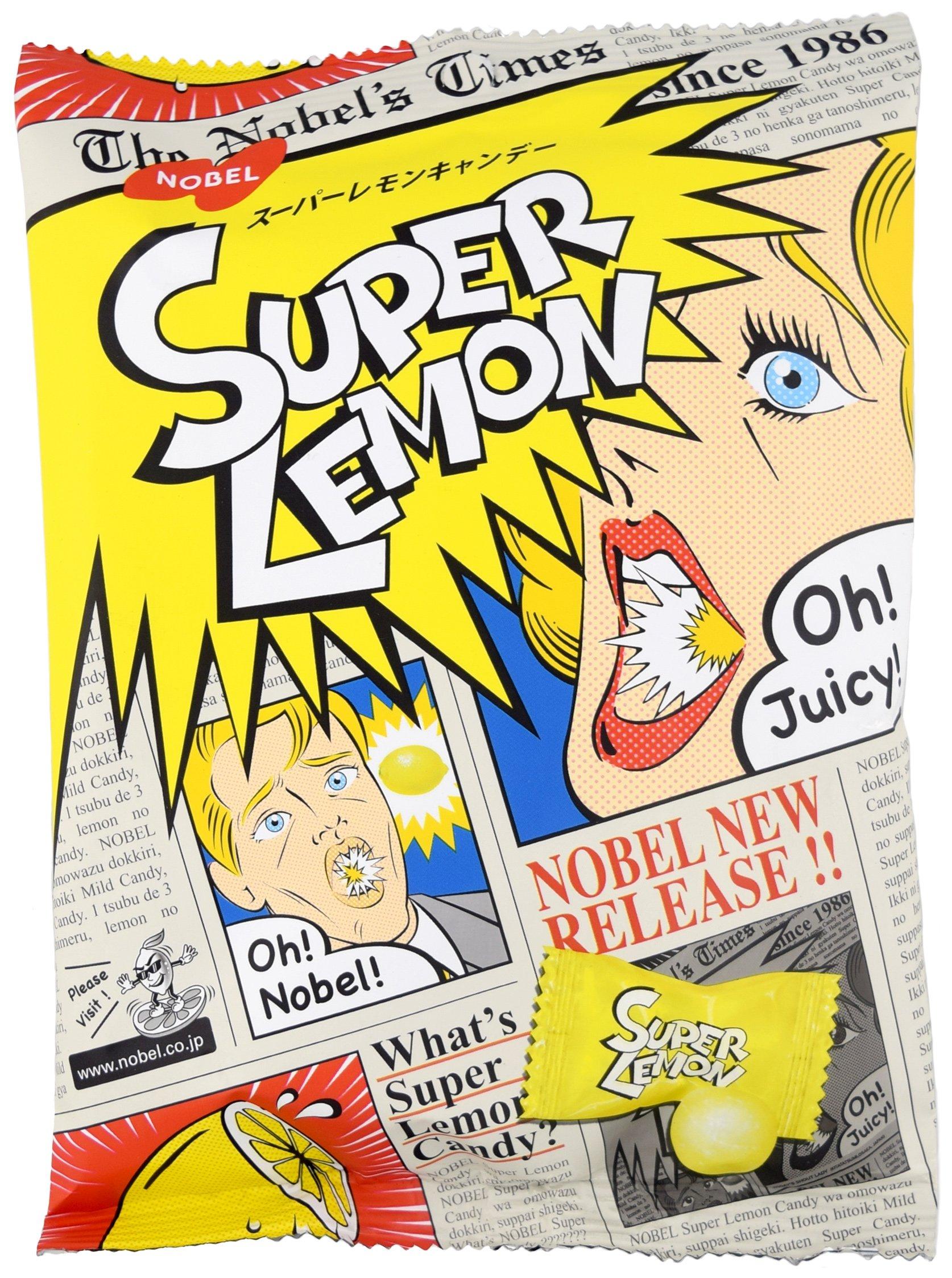Nobel Japanese Candy, Nostalgic Super Lemon Candy, 3.09-Ounce Bags (Pack of 6) by Nobel®