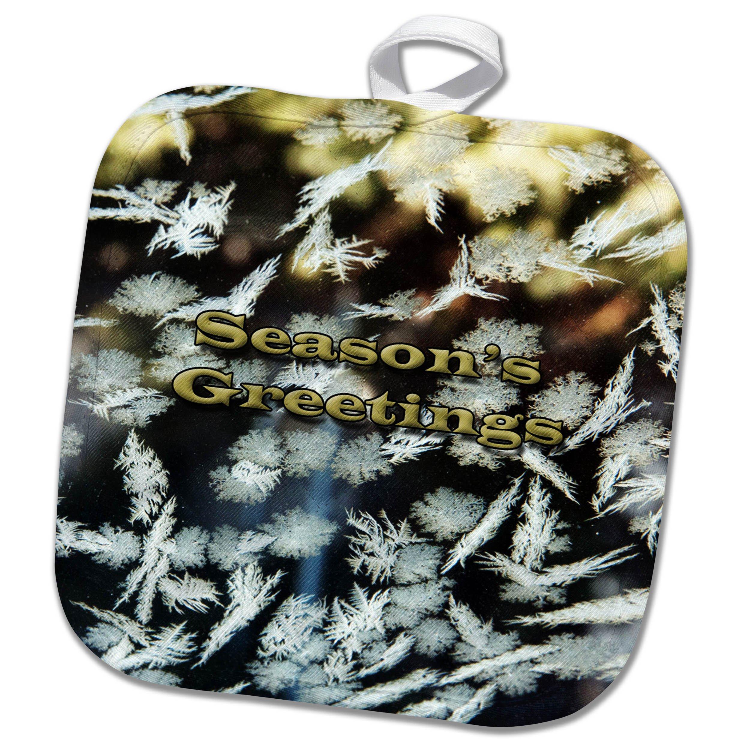 3dRose Jos Fauxtographee- Seasons Greetings - Seasons Greetings written on some snowflakes frozen to window - 8x8 Potholder (phl_263357_1)