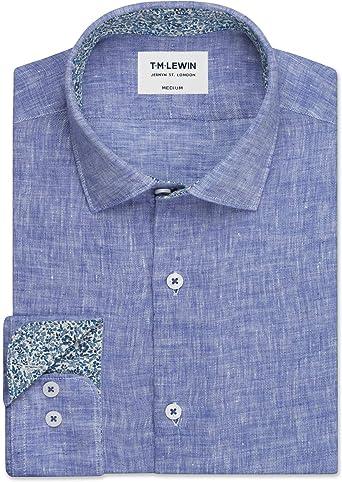 T.M.Lewin Pure Linen - Camisa de puño con Ribete Liberty ...