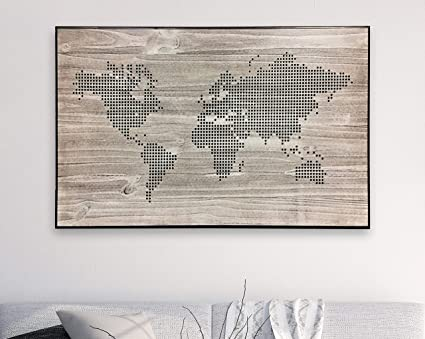 Amazoncom Ruskin352 Dotted World Map Map With Dots Wood Wall Art