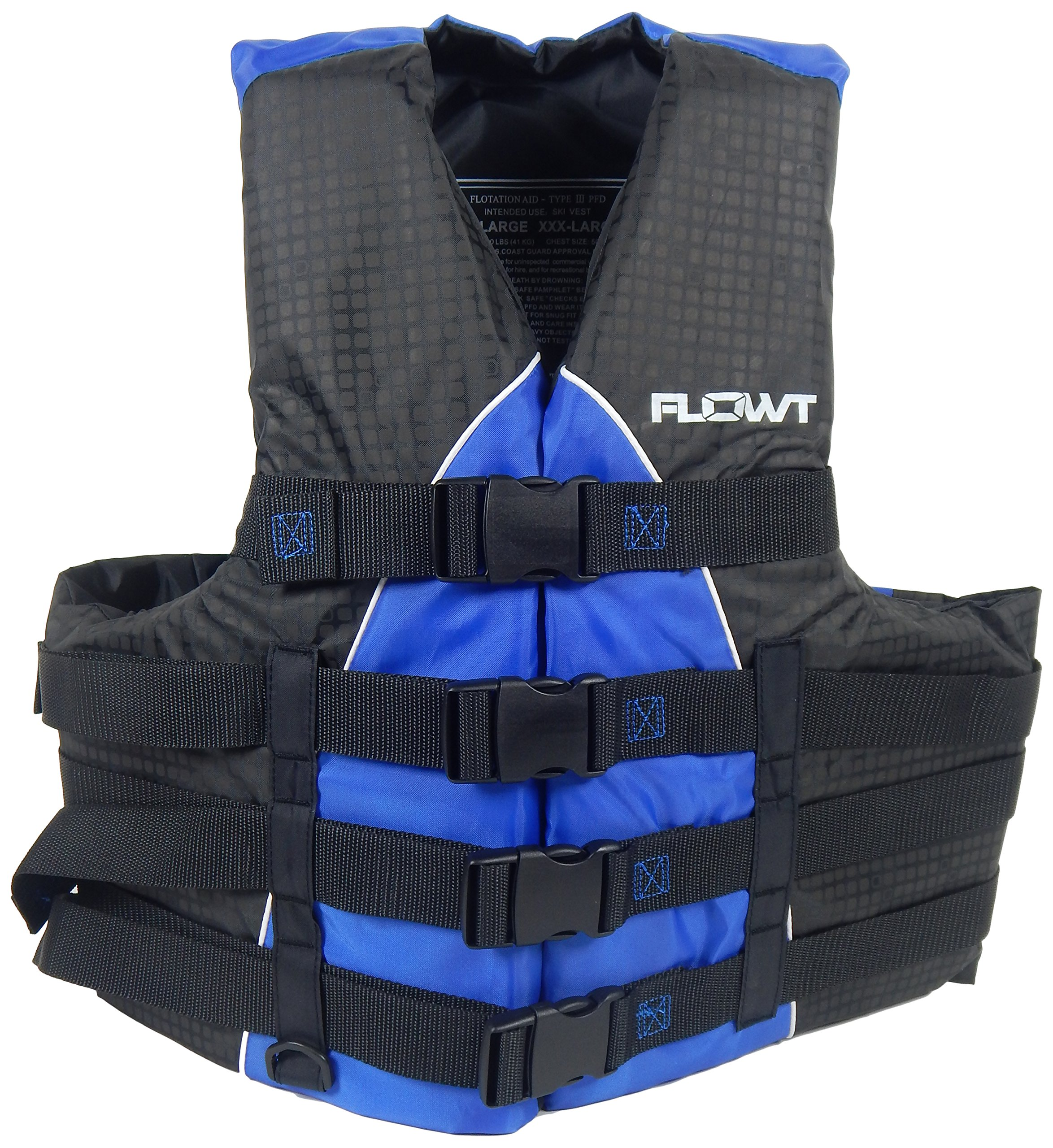 Flowt 40401-2-L/XL Extreme Sport Life Vest, Type III PFD, Closed Sides, Blue, Large/Extra Large, Fits Chest Sizes 40'' - 50'' by Flowt