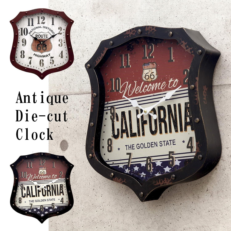 アメリカン ビンテージ風 ダイカット クロック 【CALIFORNIA】 掛け時計 ルート66 カリフォルニア グッズ アメリカ アメリカン 雑貨 掛時計 時計 B076MJ8GX6California