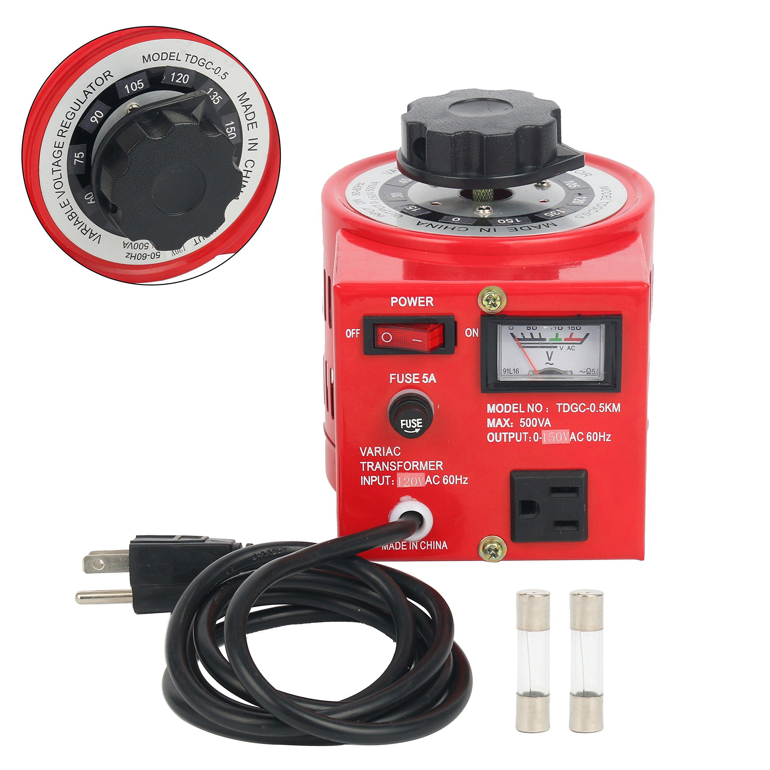 YaeCCC Variac Auto Transformer AC Variable Voltage Regulator Metered (500W)