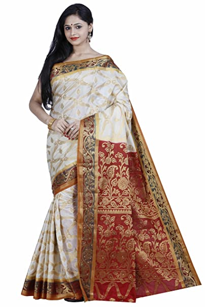 d8dcc27410 Mimosa Women's Silk Saree With Blouse Piece (167-Hwt-Mrn,Off White,Free  Size): Amazon.in: Clothing & Accessories