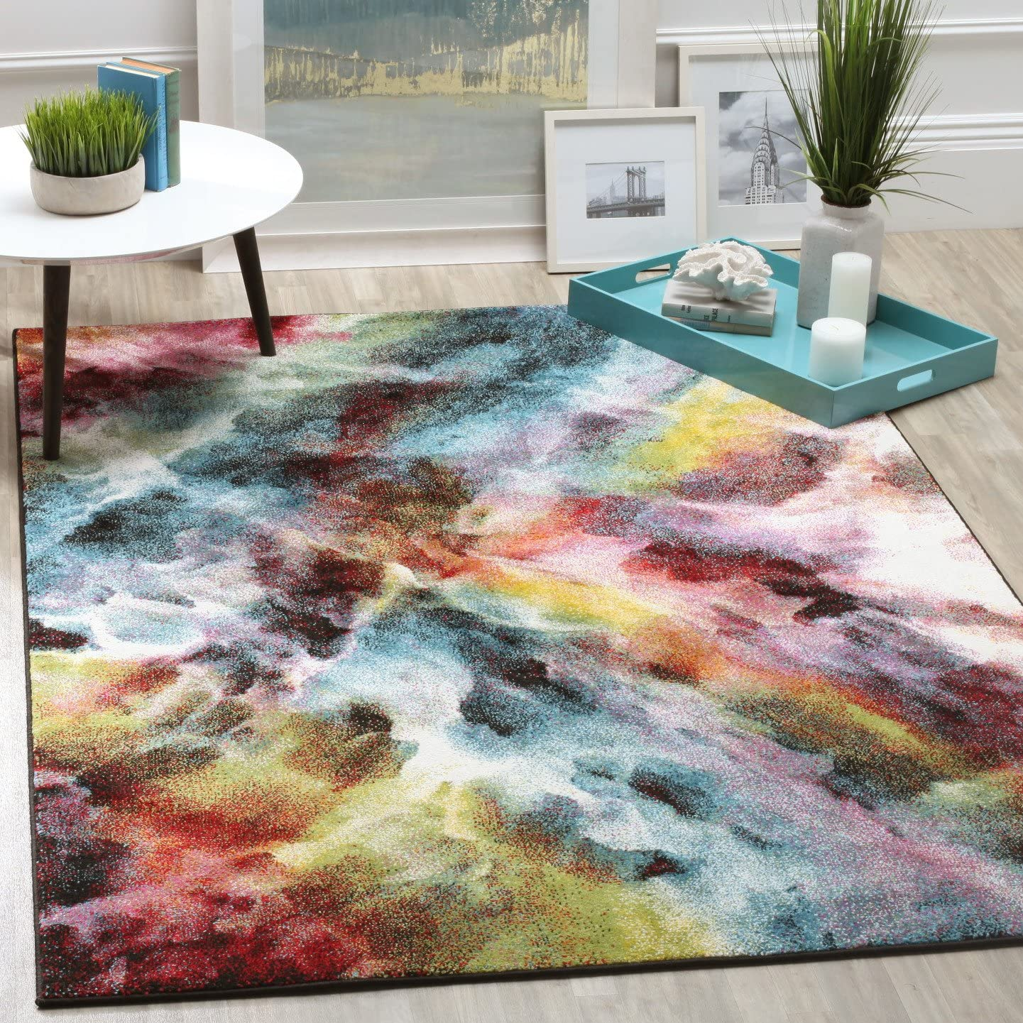 Safavieh Galaxy Collection GAL110A Vibrant Abstract Watercolor Multicolored Area Rug 8 x 10