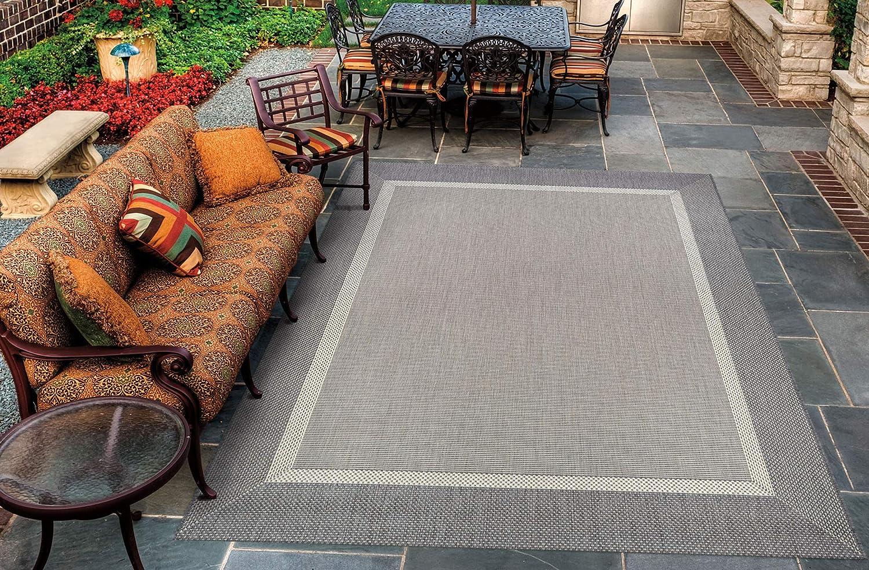 "Couristan 5526/3312 Recife Stria Texture Indoor/Outdoor Area Rug, 5'3"" x 7'6"", Champagne-Grey"