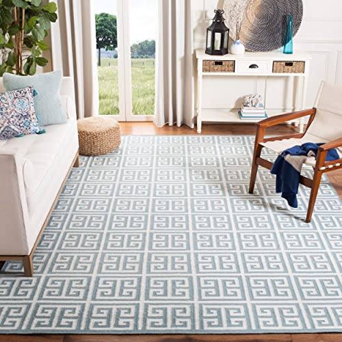 Safavieh Dhurries Collection DHU626A Hand Woven Blue and Ivory Premium Wool Area Rug 9 x 12