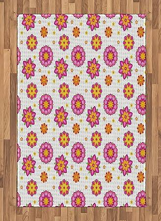 Amazon Com Ambesonne Orange And Pink Area Rug Ornamental Flowers
