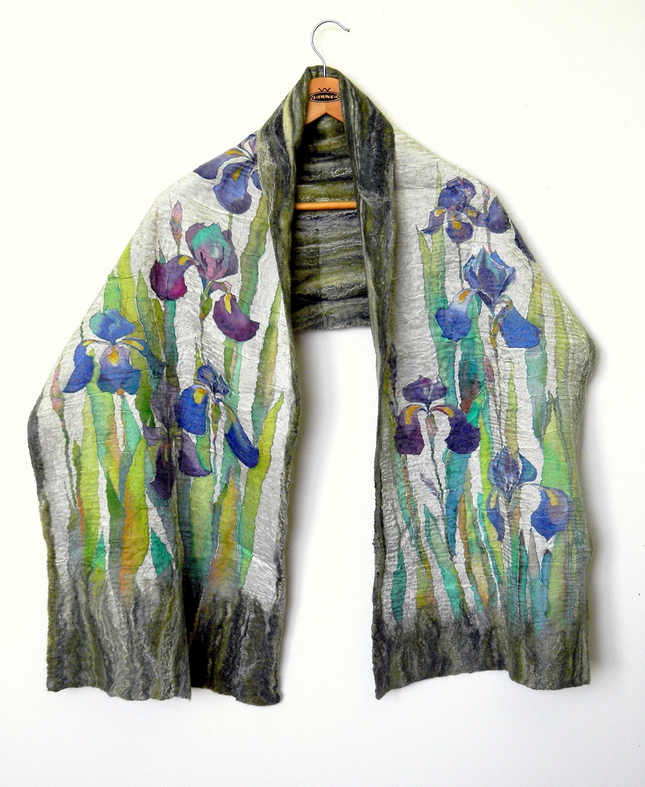 Hand painted Warm shawl wrap for women Blue iris scarf gift for her