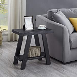 Roundhill Furniture Athens Contemporary Wood Shelf Side Table, Black