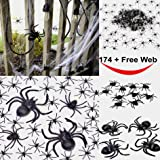 175 Pcs Halloween Spider Decorations - 160pcs Small Spider - 10pcs Medium Spider - 4pcs Big Spider - 1pcs Spider Web Decorations - Best Halloween Party Favor