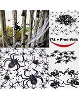 175 pcs halloween spider decorations 160pcs small spider 10pcs medium spider 4pcs big