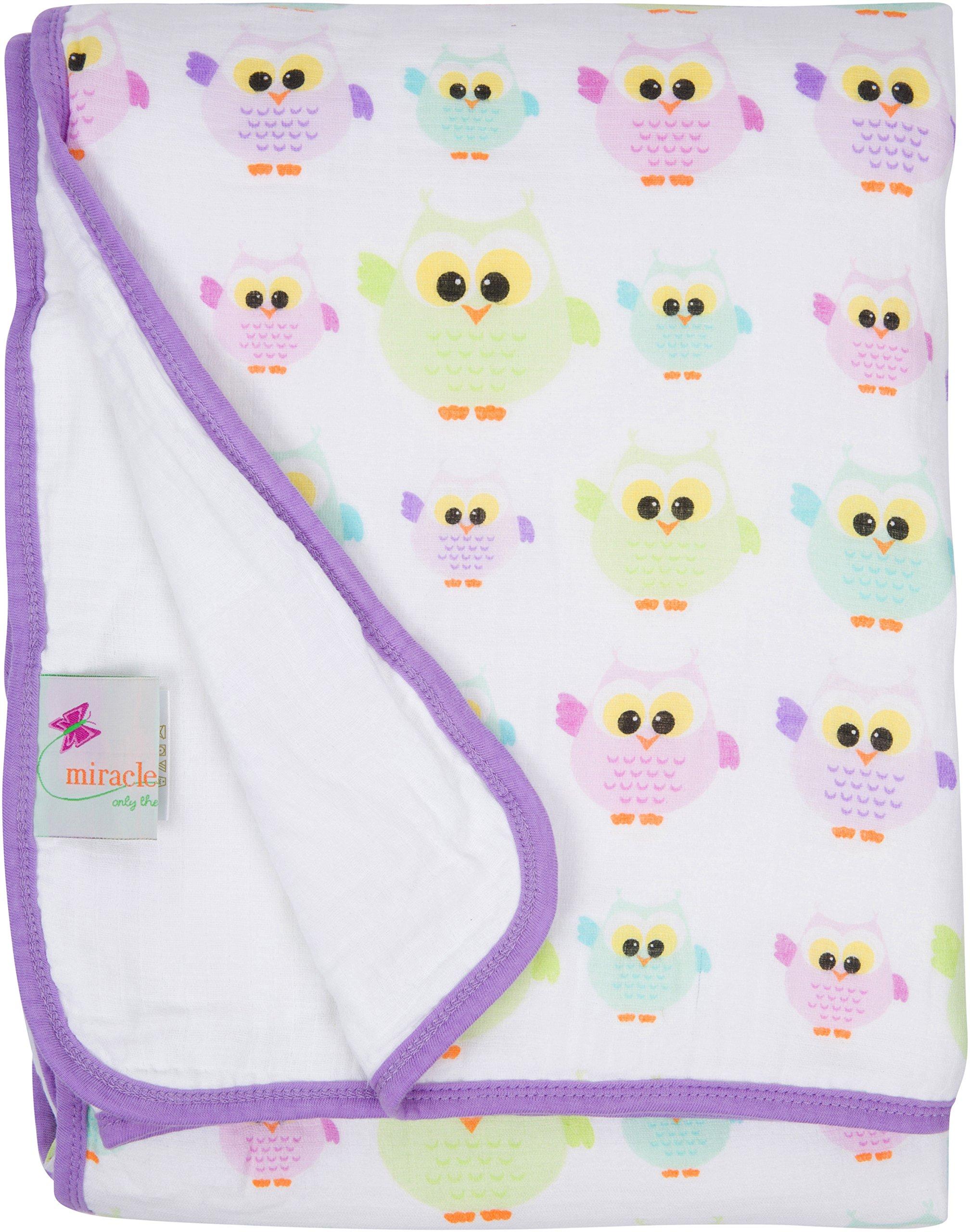 Miracle Blanket Serenity Blanket: Muslin Swaddle Blankets + Baby receiving Blankets + Baby Blanket - Owls