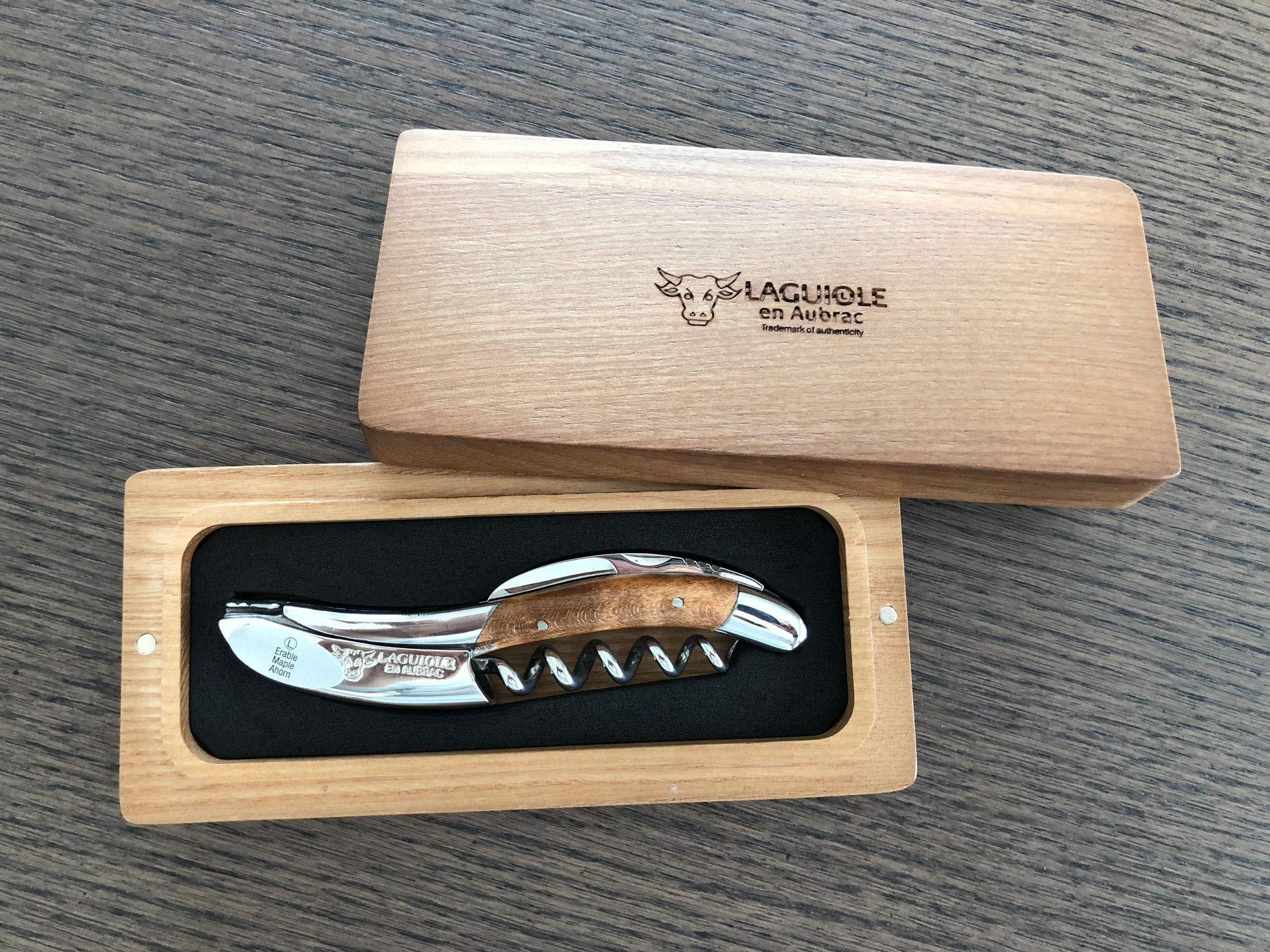 Laguiole en Aubrac Sommelier Corkscrew, Wavy Maple Wood
