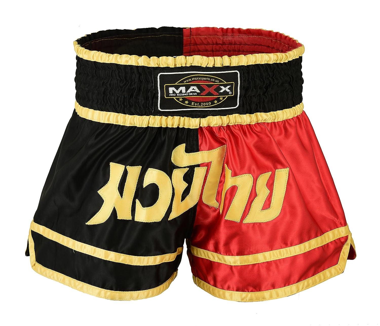 Kick Boxing mma shorts blk//red//gold Maxx Muay Thai Boxing Shorts