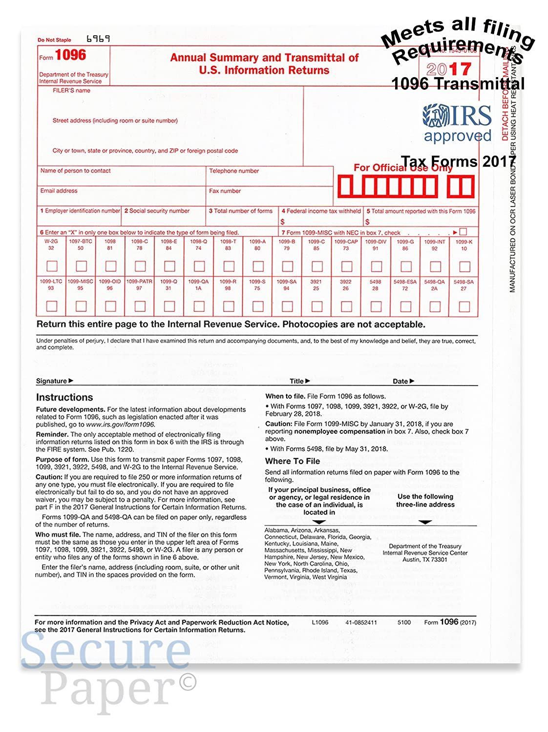 1096 Transmittal/summary Laser Tax Form -25 Pack- 2017
