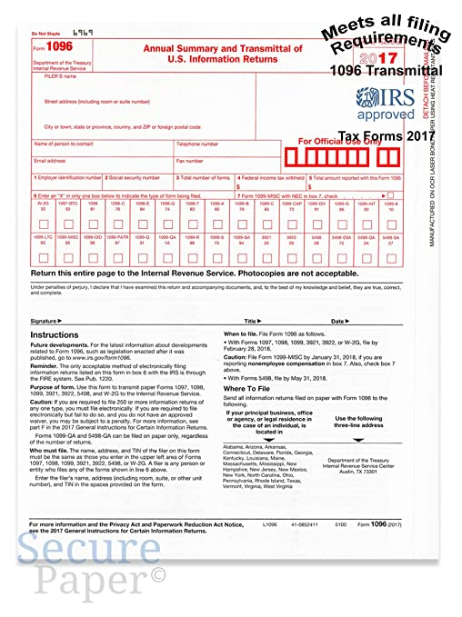 1096 Transmittalsummary Laser Tax Form 50 Pack 2017 Amazon