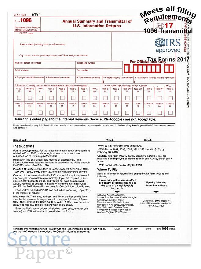 Amazon 1096 Transmittalsummary Laser Tax Form 25 Pack 2017
