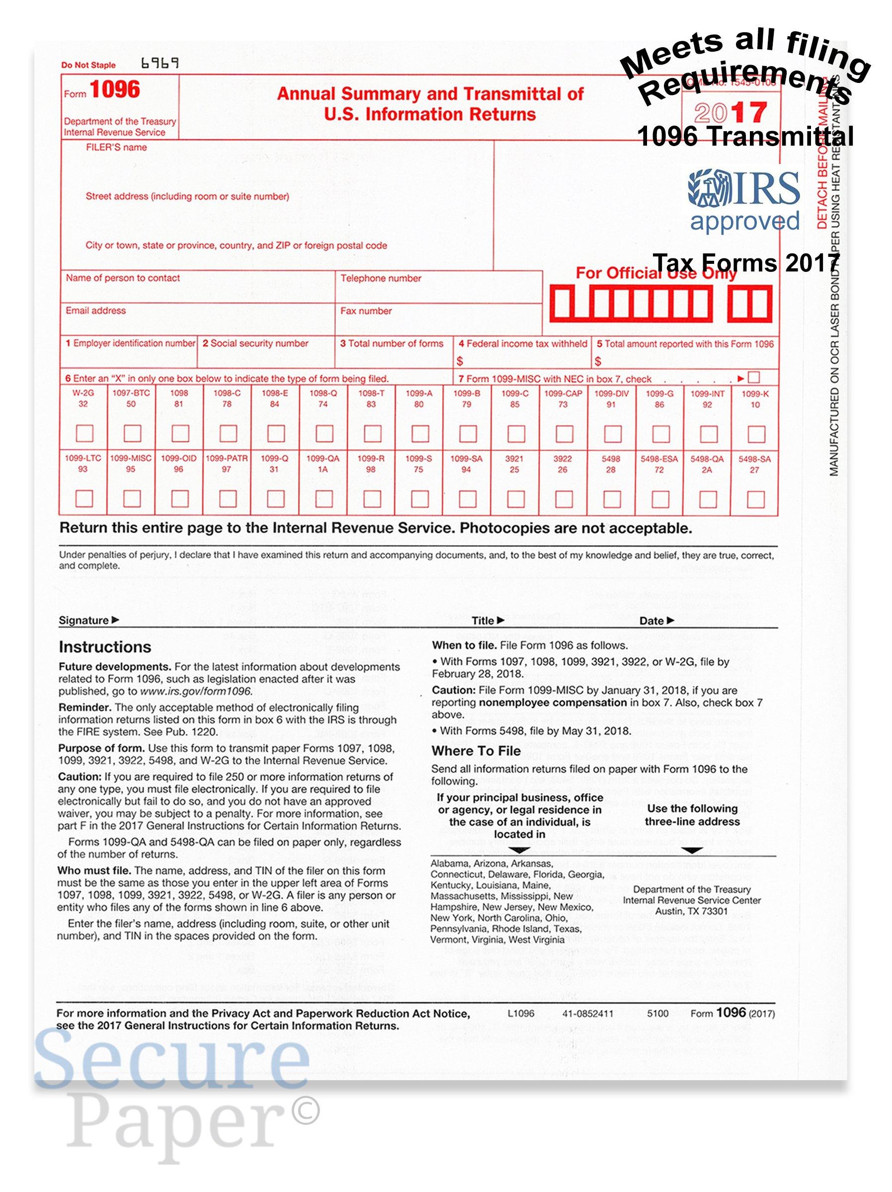 1096 Transmittal/summary Laser Tax Form -25 Pack- 2017 - 1096 - 25 ...