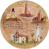 Thirstystone Stoneware Great Lakes Lighthouses Coaster, Multicolor