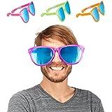 Relaxdays–Gafas de Fiesta, Azules XXL de Vasos, Disfraz Accesorio, Carnaval, JGA, Estrellas, 25cm de Ancho, plástico