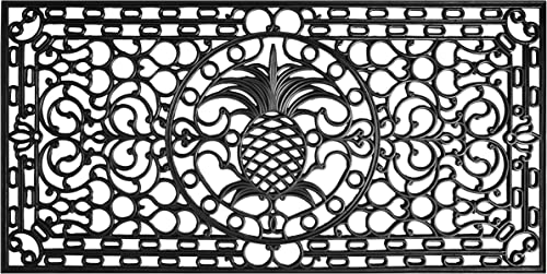 Calloway Mills 900083672 Pineapple Heritage Rubber Doormat, 3 x 6 , Black