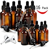 16 Amber Glass Dropper Bottles for Essential Oil, 8 pack (1 oz) Amber Bottles With Glass Eye Dropper, 8 pack (2 oz) Amber Bottles With Glass Eye Dropper, with 2 Free Stainless Steel Mini Funnels
