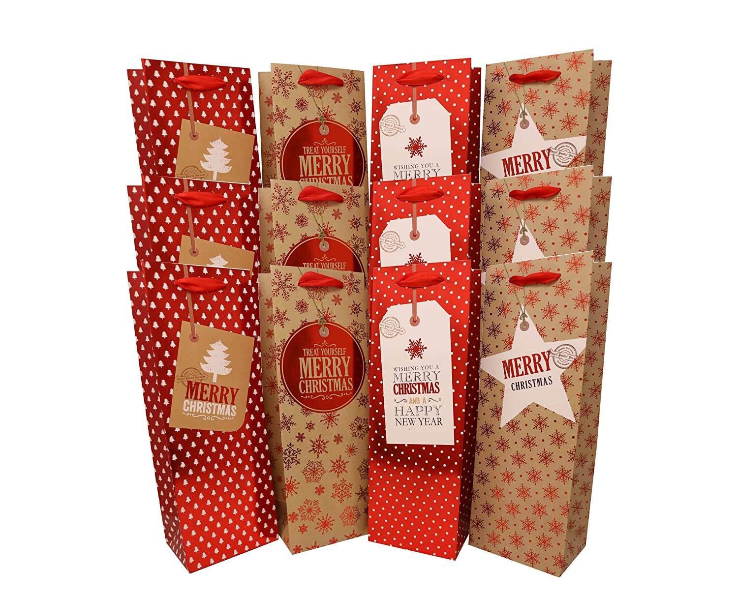 Wine Christmas Packaging.Holiday Wine Liquor Or Beer Gift Bags 12 Pack Bulk Variety Set Includes 4 Cute Red And Gold Designs