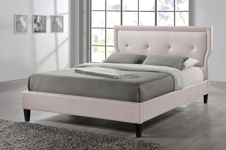 amazoncom baxton studio marquesa fabric upholstered platform bed light beige queen kitchen u0026 dining